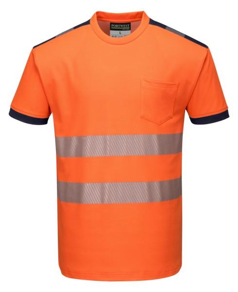 Warnschutz T-Shirt orange schwarz modern Baumwolle T181 Portwest