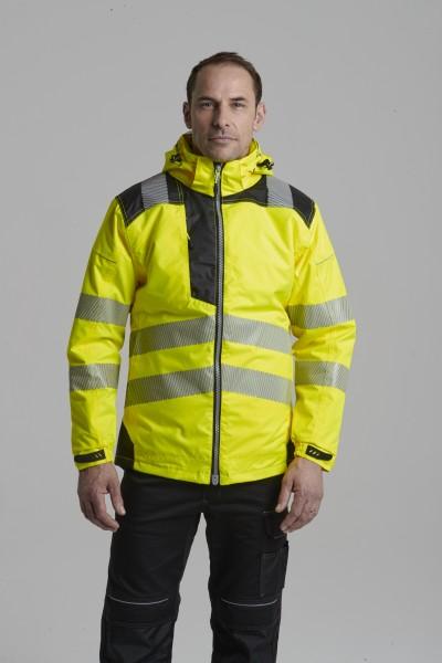 moderne Warnschutz Winterjacke gelb