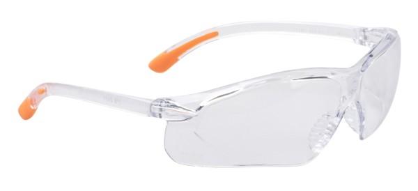 arbeitsbrille sportlich mit orange am Bügel, seitliche Gläser