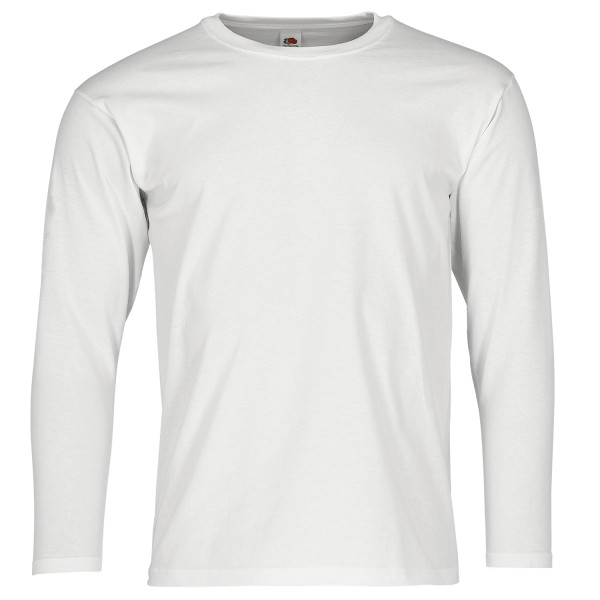 super premium long sleeve weiss fruit of the loom 60 grad waschbar