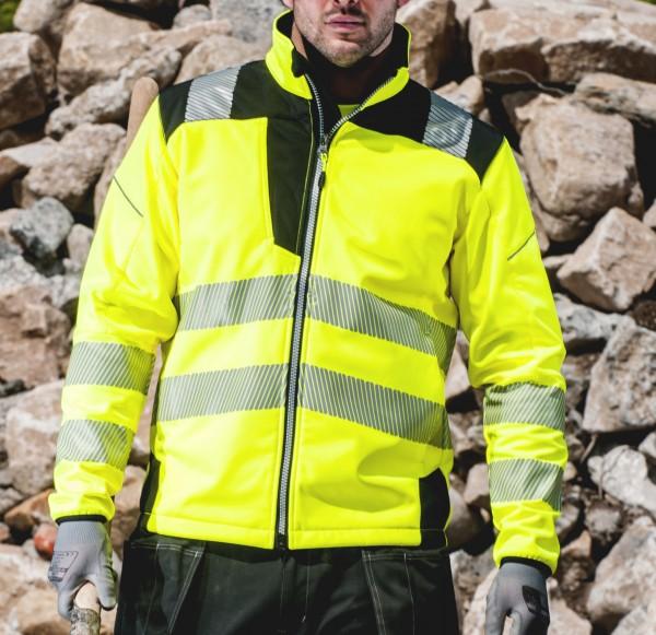 moderne Softshelljacke Warnschutzjacke atmungsaktiv mit segmentierten Streifen gelb schwarz