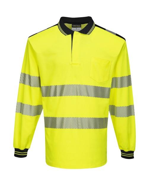 Warnpoloshirt Langarm gelb